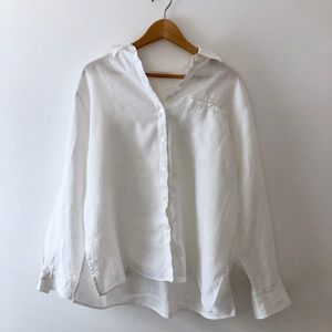 3/$50 Vintage Linen Pocket Relaxed Button Up